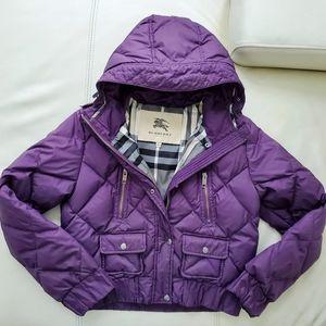Burberry plum purple winter puffer coat